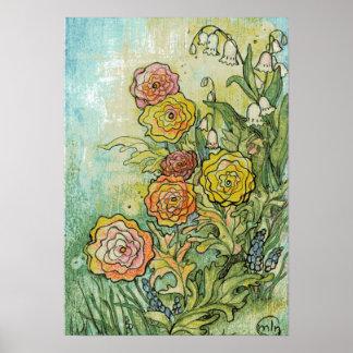Flores del jardín de las técnicas mixtas póster