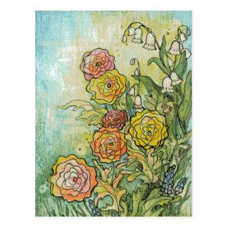 Flores del jardín de las técnicas mixtas tarjetas postales