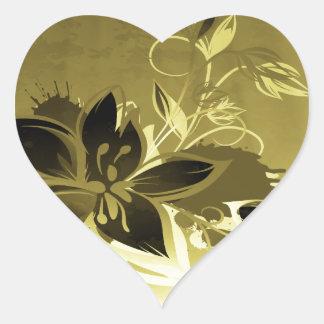 Flores del jardín del oro y de Brown Pegatina De Corazon Personalizadas