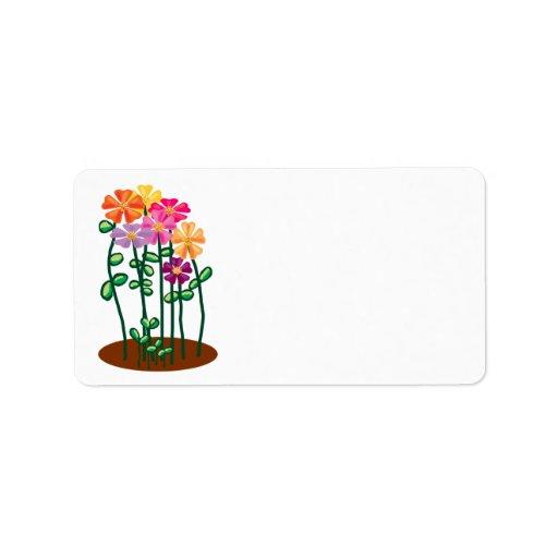 Flores del jardín etiqueta de dirección