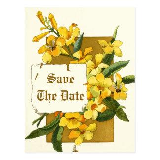 Flores del jazmín amarillo que casan reserva la tarjeta postal