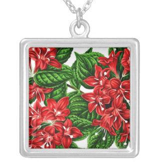 Flores del jengibre rojo, impresión del vintage colgante cuadrado