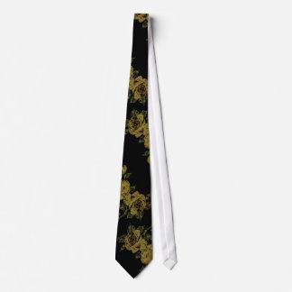 Flores del limón en lazo negro corbata personalizada