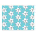 Flores del lirio blanco en un trullo - color de la tarjetas postales