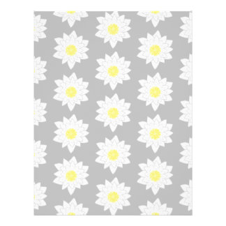 Flores del lirio de agua. Blanco, amarillo y gris Flyer Personalizado