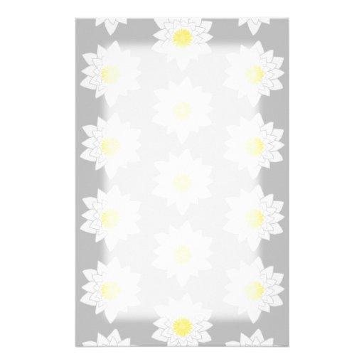 Flores del lirio de agua. Blanco, amarillo y gris Papeleria De Diseño