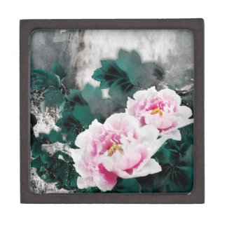 Flores del lirio de agua del vintage - arte de la caja de joyas de calidad