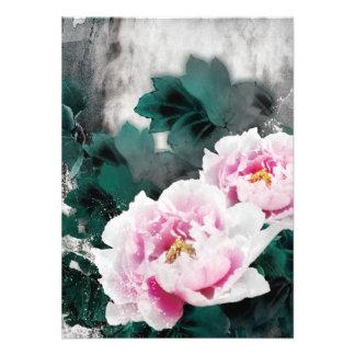 Flores del lirio de agua del vintage - arte de la invitaciones personales