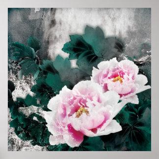 Flores del lirio de agua del vintage - arte de la poster