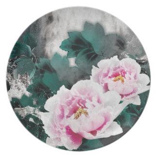 Flores del lirio de agua del vintage - arte de la platos para fiestas