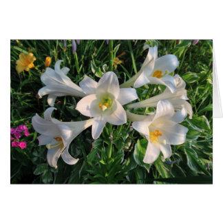 Flores del lirio de las bendiciones de Pascua Tarjeta De Felicitación