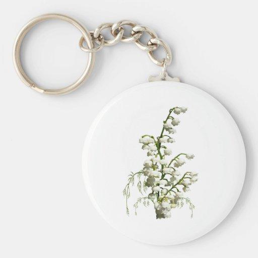 Flores del lirio de los valles llaveros personalizados