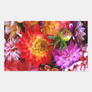 Flores del mercado de los granjeros rectangular pegatina