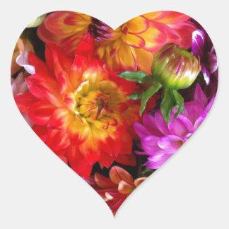 Flores del mercado de los granjeros pegatina de corazón personalizadas