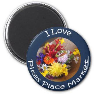 Flores del mercado imán redondo 5 cm