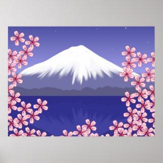 Flores del monte Fuji y de Sakura Póster