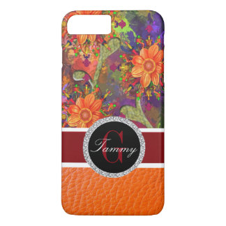 Flores del naranja del hibisco funda iPhone 7 plus