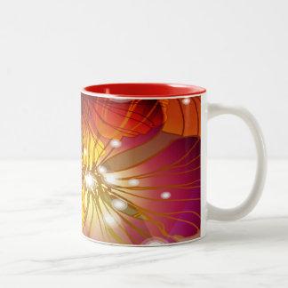 Flores del naranja, púrpuras y amarillas taza de dos tonos
