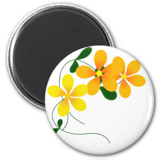 Flores del naranja y del amarillo imán de nevera