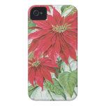 Flores del navidad del vintage iPhone 4 Case-Mate cárcasa