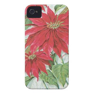 Flores del navidad del vintage funda para iPhone 4 de Case-Mate
