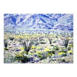 """Flores del Ocotillo y del desierto en la floración Invitación 5"""" X 7"""""""