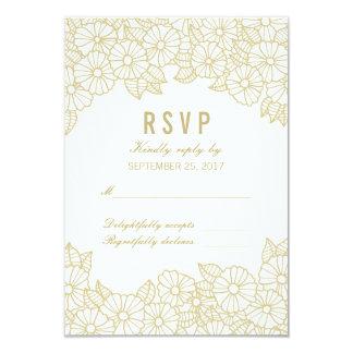 Flores del oro en la tarjeta blanca de RSVP de la Invitación 8,9 X 12,7 Cm