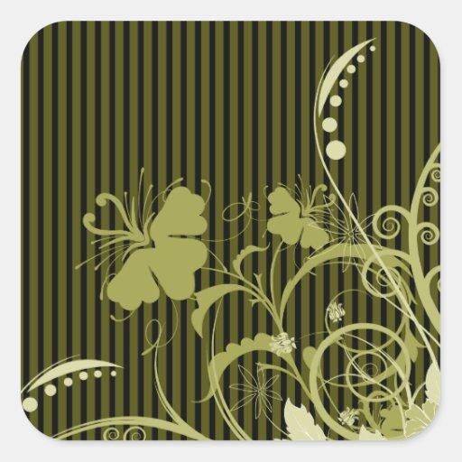 Flores del oro en negro y BrownStripes Pegatina Cuadrada