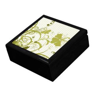 Flores del oro en rayas caja de regalo