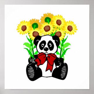 Flores del oso de panda poster