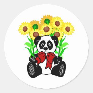 Flores del oso de panda pegatina redonda