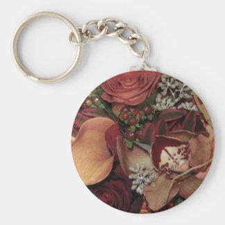 Flores del otoño llavero redondo tipo pin