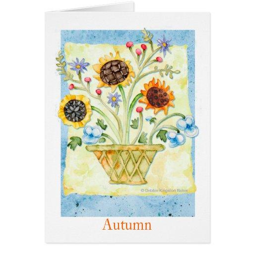 Flores del otoño tarjeta pequeña