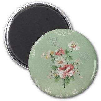 Flores del papel pintado del vintage imán redondo 5 cm