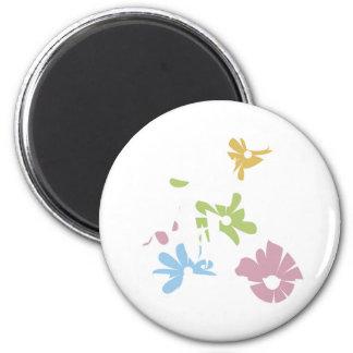 flores del pastel de la vespa del chica imán redondo 5 cm