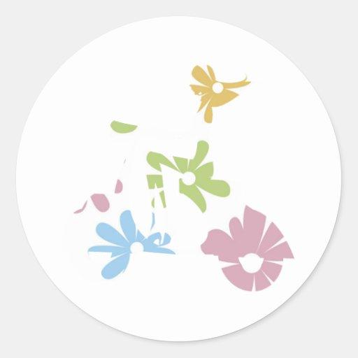 flores del pastel de la vespa del chica pegatina