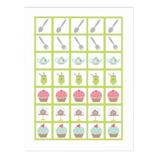 Flores del pastel del rosa de la fiesta del té de  tarjeta postal