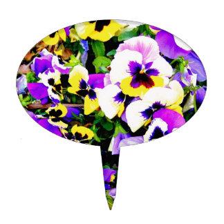 flores del pensamiento decoración para tarta