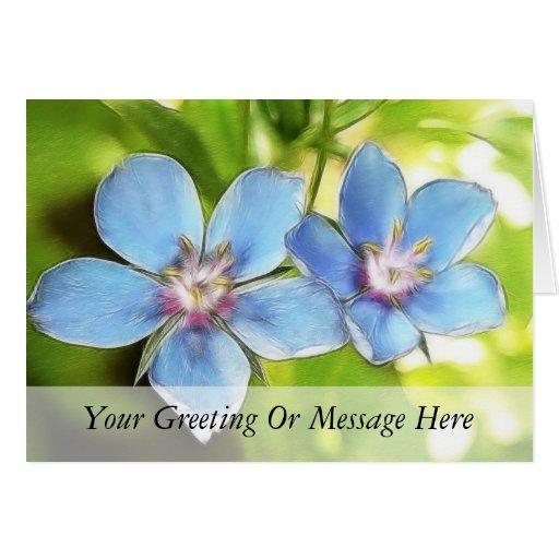 Flores del Pimpernel azul (monelli del Anagallis) Tarjeta De Felicitación