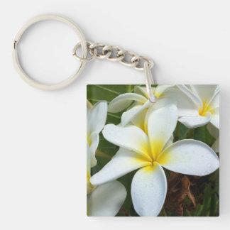 Flores del Plumeria de Hawaii Llavero Cuadrado Acrílico A Doble Cara