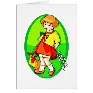 flores del pollo del chica detrás del verde tarjeta pequeña