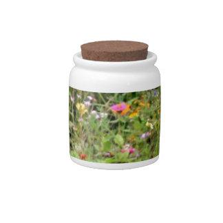 Flores del prado de la primavera jarras para caramelos