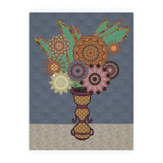 """Flores del remiendo de la tela en la tabla invitación 5"""" x 7"""""""
