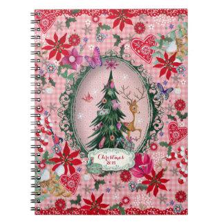 Flores del reno del navidad - cuaderno de la foto