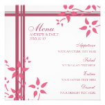 Flores del rosa de la madreselva del menú del boda anuncio personalizado