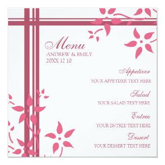"""Flores del rosa de la madreselva del menú del boda invitación 5.25"""" x 5.25"""""""