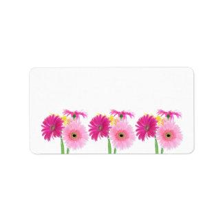 Flores del rosa de la margarita del Gerbera Etiquetas De Dirección