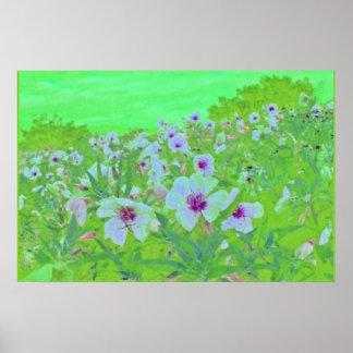 Flores del rosa de la onagra del Birdcage Poster