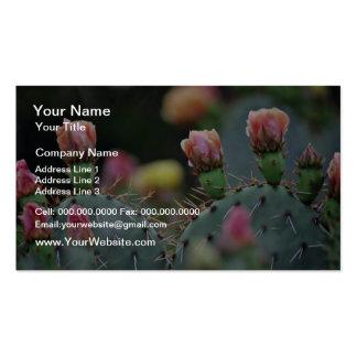 Flores del rosa del cactus de Beavertail Tarjetas De Visita
