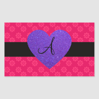 Flores del rosa del monograma del corazón púrpura rectangular pegatinas